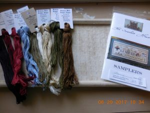 Supplies for stitching Samplers.