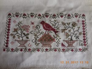 Rosehips and Ivy Stitched Piece.