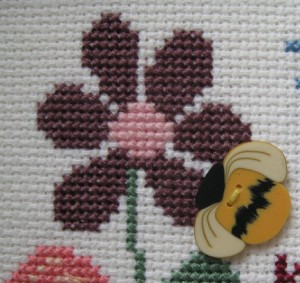 Detail of the Flower and Bee button.