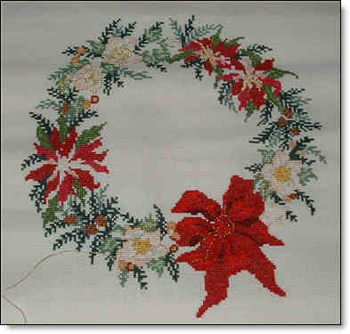 Picture of Counted Cross Stitch Floral Wreath project.