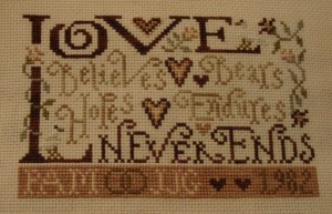 Forever Love finished stitching.