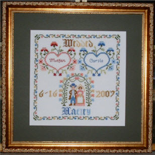 Photograph of Counted Cross Stitch Folk Art Wedding Sampler.
