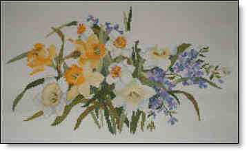Picture of Narcissus and Myrtle Counted Cross Stitch.
